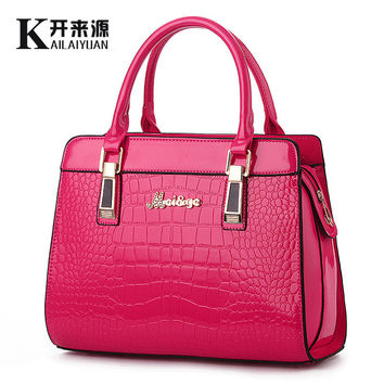 100% Genuine leather Women handbags 2016 new bright leather female bag stone high-grade shoulder bags of western style air bag