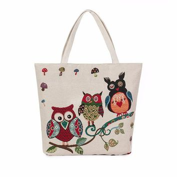 Family Friends party Board game Women Messenger Bags Owl Printed Canvas Tote Casual Beach Bags Women Shopping Bag Handbags Women's Handbags Leather Bags Bolsos AT_41_3