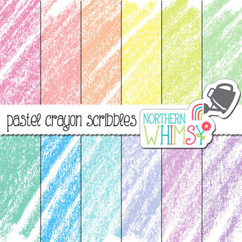 Pastel Baby Digital Paper - crayon scribble scrapbook paper in pink, peach, yellow, mint, baby blue, lilac and lavender - commercial use OK