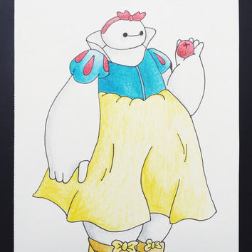 BAYMAX SNOW WHITE - original big hero 6 Disney reimagined snow white drawing colored pencil illustration