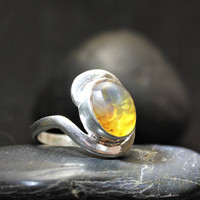 Dominican Crystal Clear Blue Amber Sterling Silver 925 Ring oval shape Boho genuine Size 7.5 15ct unique friend gift Caribbean treasure