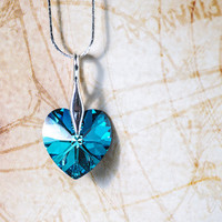 Bermuda Blue Crystal Hear Pendant Christmas Gift Idea For Her