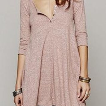 See You Soon Heather Pink 3/4 Sleeve Button Henley Asymmetric Tunic Top Mini Dress