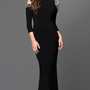 Mock Neck Cold Shoulder Black Long Formal Dress by Marina