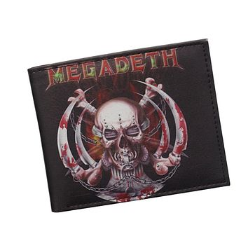 Heavy Metal Devil IRON MAIDEN Band Wallet Punk Rock Designer Gothic Skull Wallets Bifold Men Women Money Bag Clip Leather Wallet