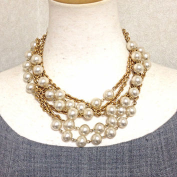 Vintage CHANEL triple layer chain necklace with round faux pearl. Classic and Gorgeous masterpiece for the rest of your life.