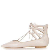 KATHY Ghillie Pointed Shoes - Nude