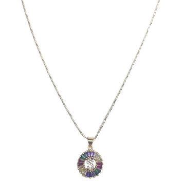 Rainbow Crystal Initial Necklace