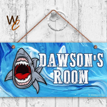 "Shark Sign, Shark Attack Personalized Sign, Kid's Name, Kids Door Sign, Beach Wall Decor, Weatherproof, 5"" x 10"" Sign, Made To Order"