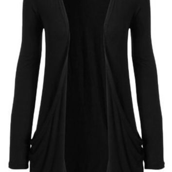 Long Sleeve Collarless Short Cardigan
