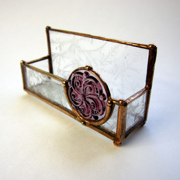 Stained Glass Business Card Holder Handmade with Glue Chip Glass and Mauve Medallion Jewel, Copper Patina