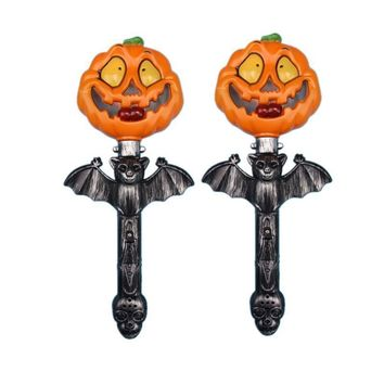 2pcs Halloween Shaking Stick Pumpkin Luminous Light Up Glowing Props Party Supplies Hand Sticks Wand Toys for Festival Party Bar