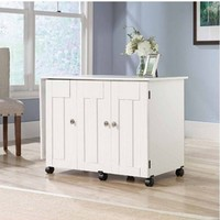 NEW Sauder Sewing & Craft Table Drop Leaf Shelves Storage Bins Cabinets WHITE