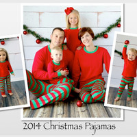 Red & Green Striped Monogrammed Christmas Pajamas: Infant, Toddler, Children, and Adult