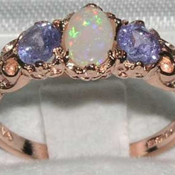Solid 9K Rose Gold Natural White Opal & Tanzanite English Victorian Style 3 Stone Trilogy Ring - Made in England - Customizable