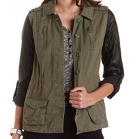 Olive Faux Leather & Twill Utility Jacket by Charlotte Russe