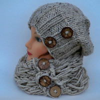 Hat And Scarf Set - Knit Slouchy Beanie And Infinity Scarf Cowl In Oatmeal With Coconut Shell Buttons