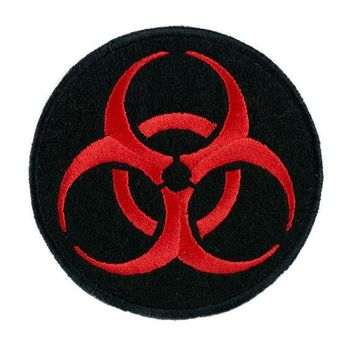 ac spbest Toxic Red Biohazard Sign Patch Iron on Applique Horror Clothing Zombie Apocalypse