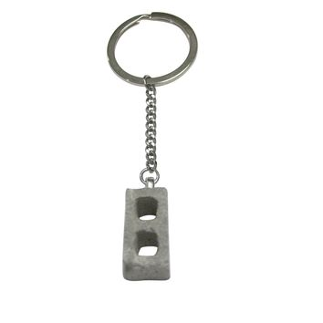 Tiny Industrial Construction Cinderblock Pendant Keychain