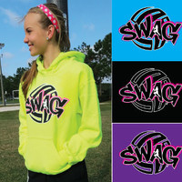 """SWAG"" - Volleyball Hooded Sweatshirt by VictorySportsGraphics"