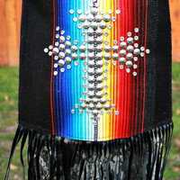 KurtMen Designs Cross Body Black Serape, Silver Star Studded Cross and Clear Crystals, Black Fringe and Black Back Purse