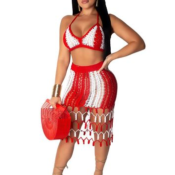 Adogirl Color Patchwork Hand Crochet Beach Dress Two Piece Set Hollow Out Bra Top Bodycon Midi Skirt Summer Women Clothing