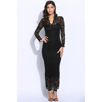 Sexy Women Long Sleeve V Neck Bodycon Party Maxi Long Lace Dress