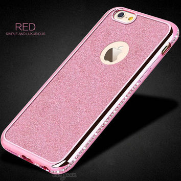 Glitter Bling Plating Diamond Cover For iphone 6 Case For iphone 6S 6 Plus 5 5S SE Luxury Rhinestone Phone Cases Soft TPU Coque-004-05-Girllove100
