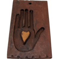 Vintage Primitive Butter Mold Heart And Hand Folk Art Treenware Hand Carved Wooden Treen
