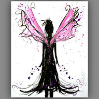 Magical Fairy Art painting, Pink and black Art print for girls room 8x10