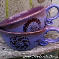 Pair Purple Stoneware Soup Mugs Made to Order by CropCircleClay