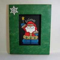 Santa with Star and Believe Folk Art Christmas design Framed in Shades of Green Tole Painted