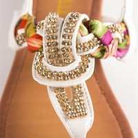 Jeweled and Woven Scarf Thong Sandal - White from Sandals at Lucky 21 Lucky 21