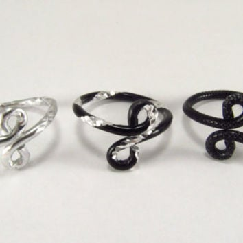 Set of 3 Thumb Rings Or Any Finger Adjustable Infinity Silver, Black and Silver, Black