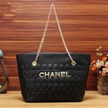 DCCKXT7 Chanel' Simple Fashion Metal Chain Letter Single Shoulder Bag Women Temperament Large Capacity Shopper Handbag
