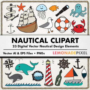 Nautical Clipart - Hand Drawn clip art, nautical doodles, digital collage sheet, boat clipart, whale clipart, ship clipart, sea life vectors