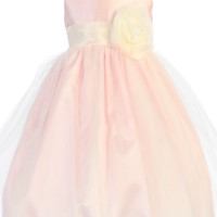 Pink Shantung & Tulle Overlay Dress with Ivory Shantung Trim (Baby 6 months - Girls Size 10)