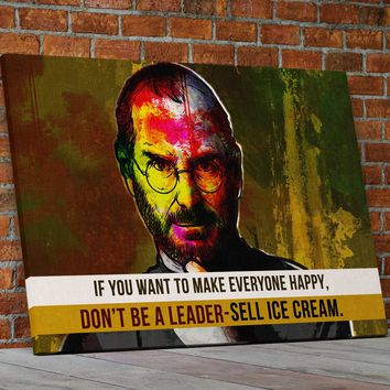 Steve Jobs Quote Abstract Canvas Wall Art Motivational Art If You Want To Make Everyone Happy