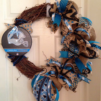 Carolina Panthers Burlap Grapevine Wreath, Carolina Panthers Wreath, Panthers Wreath, Carolina Panthers Decor, NFL Wreath