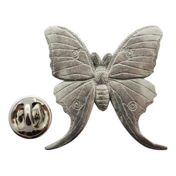 Luna Moth Pin ~ Antiqued Pewter ~ Lapel Pin