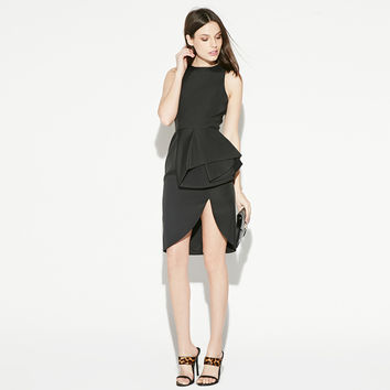 Black Sleeveless Wrap Mini Dress with Slit
