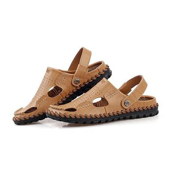 Men Leather Hollow Out Breathable Two Way Wearing Slip On Beach Slipper Sandals