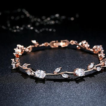 Rose Gold Plated Leaf Chain & Link Bracelet with Red + Green AAA Zircon for Mother Gifts Jewelry