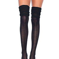 Pointelle Lace Thigh Highs in Black