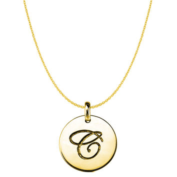 """C"" 14K Yellow Gold Script Engraved Initial Disk Pendant"