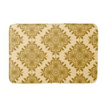 Golden Brown Damask Pattern Bath Mat