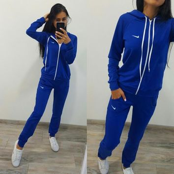 Nike £ºFashion Letter Long Sleeve Shirt Sweater Pants Sweatpants Set Two-Piece Sportswear