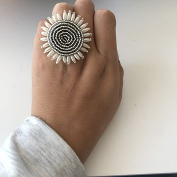 Statement Rings-Hand Beaded with a Stretch Band