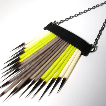 Southwest Porcupine Quill Lime and Grey Necklace by RawEarthStudio