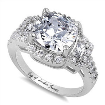 A Perfect 5CT Radiant Cut Russian Lab Diamond Engagement Ring